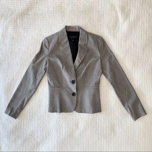 BANANA REPUBLIC FACTORY Grey Plaid Fitted Blazer